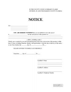 Eviction Letter Template Florida - Sample Eviction Notice Template Free Documents In Word Day form