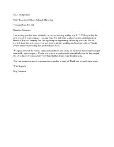 Executive Offer Letter Template - Project Acceptance Letter Use This Section to Prepare the Letter