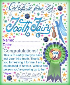 Fairy Door Letter Template - tooth Fairy Certificate Award for Losing Your Third tooth