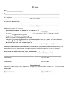 Fha Gift Letter Template - Fha Gift Letter Template Examples