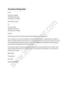 Field Trip Permission Letter Template - Permission Giving Letter Sample Permission Letters