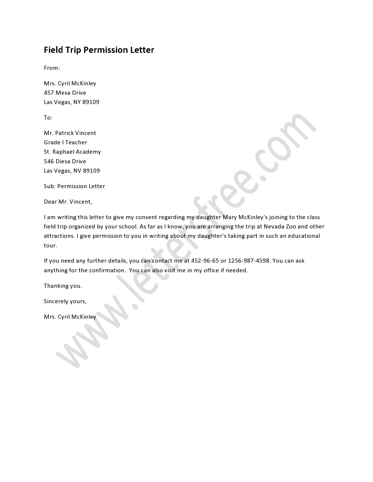 field trip permission letter template example-A field trip permission letter is written to permit an individual going for a field trip and the letter should be submitted to the concerned authority 6-k