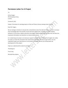 Field Trip Template Permission Letter - Permission Letter for A Project