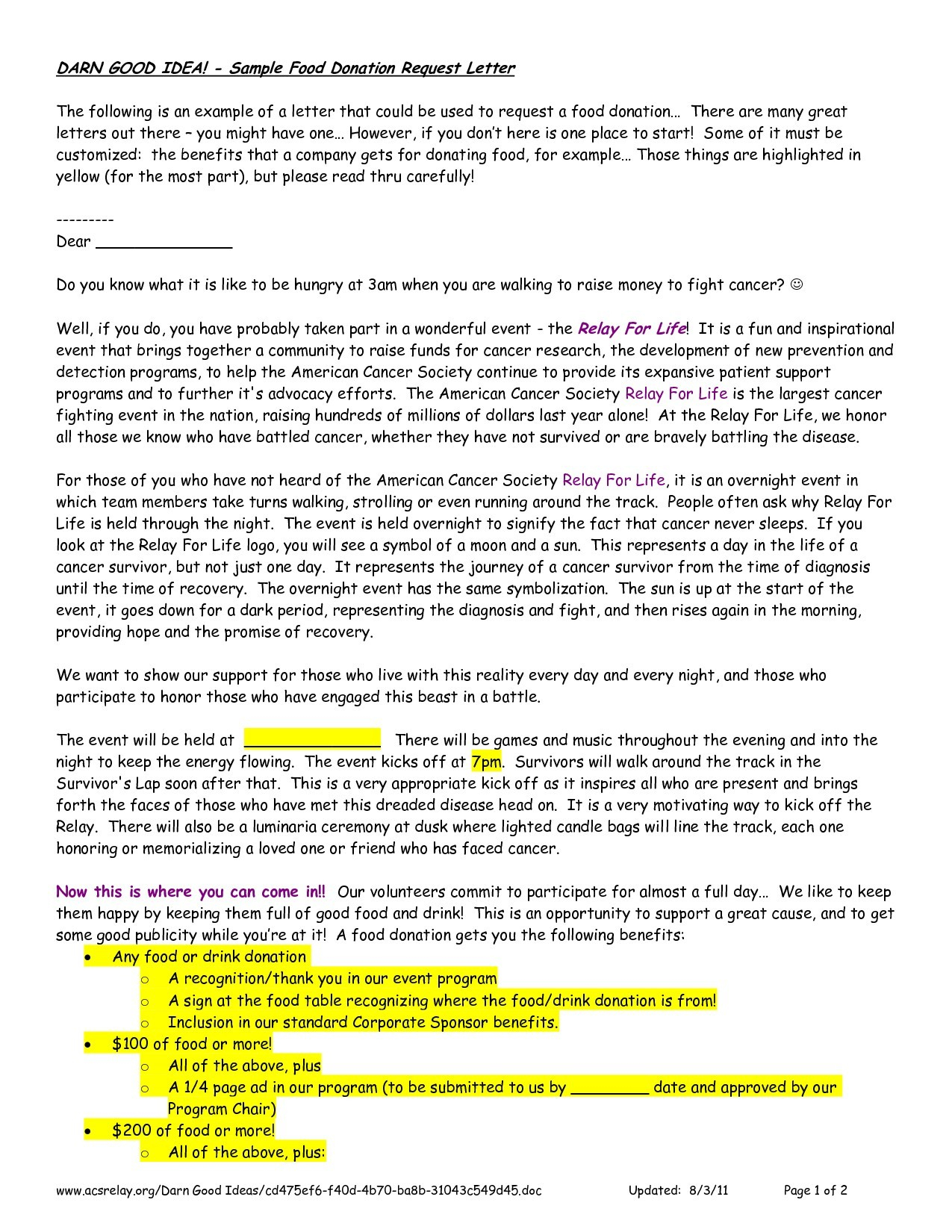 8 Food Donation Request Letter Template Samples Letter Templates