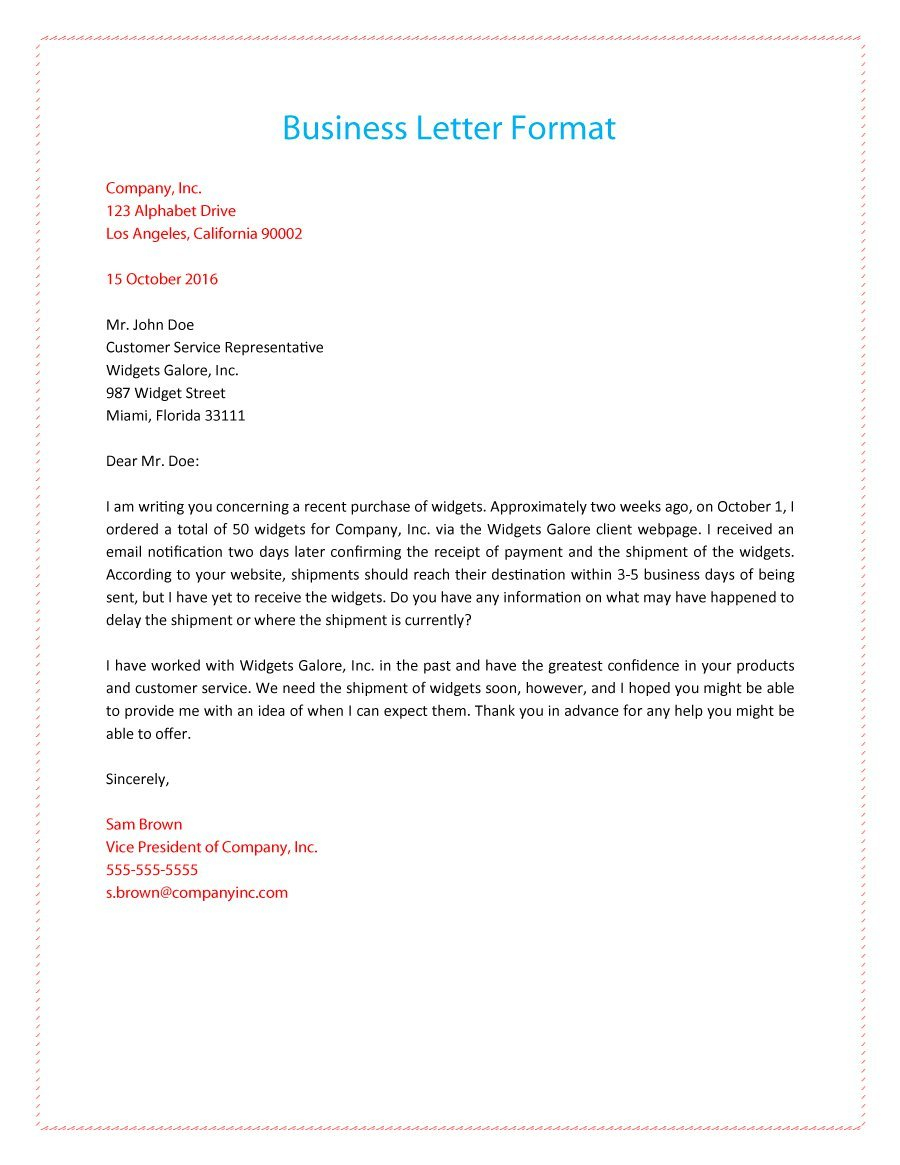 formal business letter format template example-Business Letter Format Example 13-a
