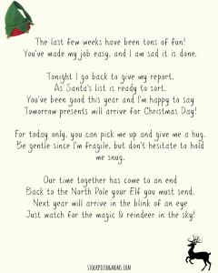 Free Elf On the Shelf Goodbye Letter Template - Elf A Shelf Goodbye Letter Printable