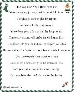 Free Elf On the Shelf Goodbye Letter Template - Printable Elf the Shelf Goodbye Letter Christmas