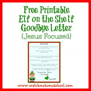 Free Elf On the Shelf Letter Template - A Free Printable Elf On the Shelf Goodbye Letter that is Jesus