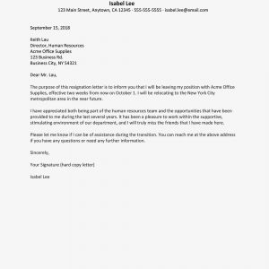 Free Sample Resignation Letter Template - Resignation Letter Due to Relocation Examples