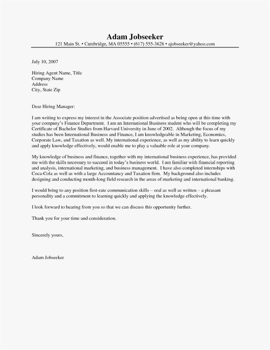 Free Simple Cover Letter Template - Free Template Cover Letter for Job Application Sample
