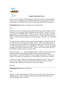 Fundraiser Letter Template - Sample Charitable Donation Letter