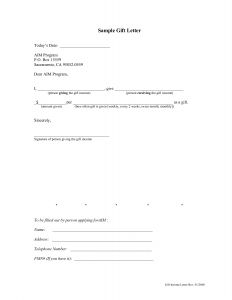 Gifting Letter Template - Gift Letter Template for Home Loan Samples
