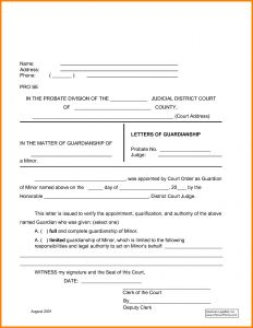 Guardian Letter Template - Free Temporary Guardianship Letter Template Samples