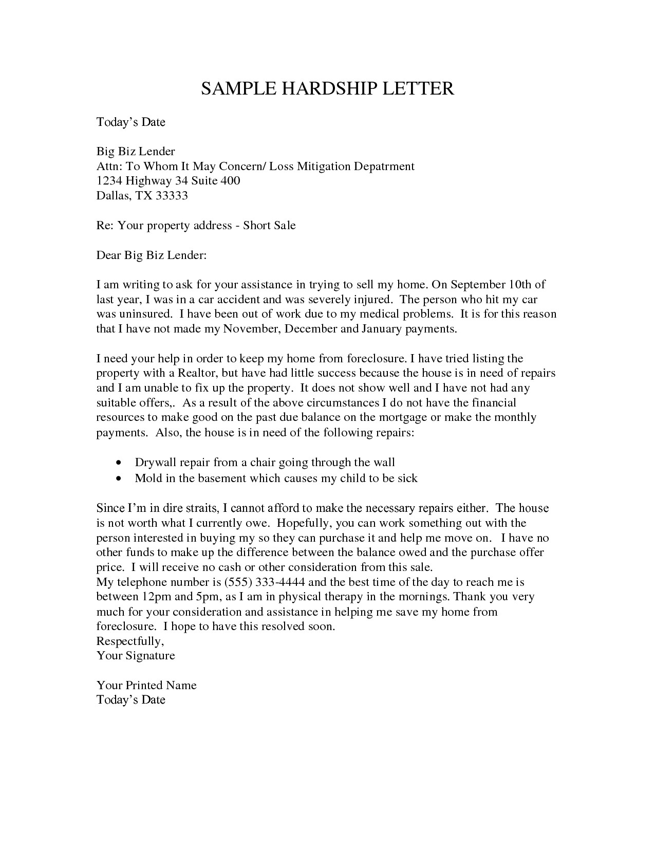 hardship-letter-for-loan-modification-template-12  K Hardship Letter Template on