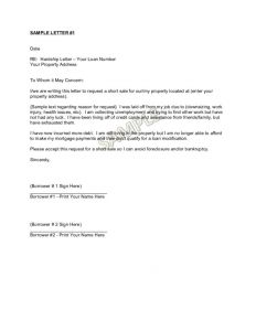 Hardship Letter Template for Loan Modification Request - Short Sale Hardship Letter Template Collection