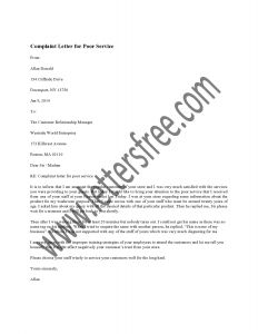 Hoa Complaint Letter Template - Plaint Letter for Poor Service
