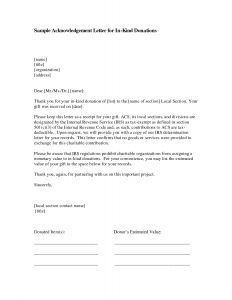 In Kind Donation Letter Template - Donation Acknowledgement Letter Template Sample
