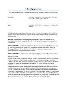 Indemnification Letter Template - Affidavit and Indemnity Agreement form