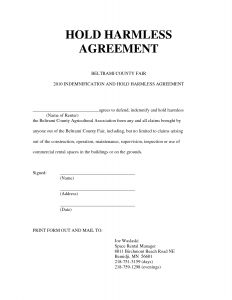 Indemnification Letter Template - 16 Luxury Hold Harmless Agreement Land Of Template