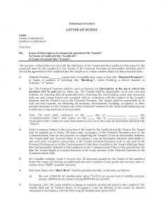 Intent to Lease Letter Template - Letter Intent to Lease Mercial Property Template Sample