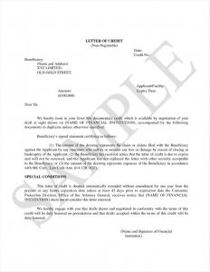 Irrevocable Letter Of Credit Template - Irrevocable Letter Credit format