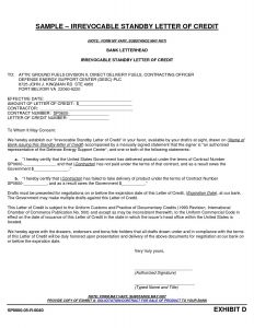 Irrevocable Letter Of Credit Template - Irrevocable Standby Letter Credit Template Examples