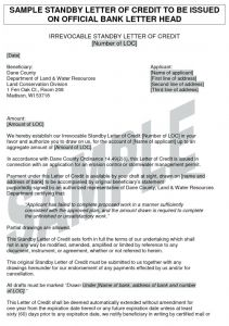 Irrevocable Letter Of Credit Template - Standby Letter Of Credit Template