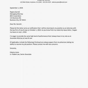 Job Reinstatement Letter Template - How to Write A Return From Maternity Leave Letter
