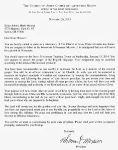 Lds Mission Call Letter Template - Lds Missionary Letter Template Examples
