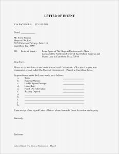 Lease Letter Of Intent Template - Letter Intent to Lease Mercial Property Template Sample