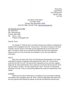 Legal Opinion Letter Template - Probate Letter Template Samples