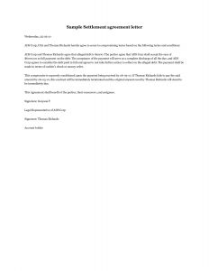 Legal Settlement Letter Template - Settlement Agreement Letter Template Gallery