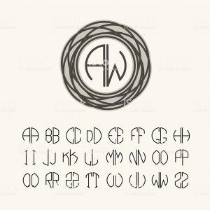 Letter C Monogram Template - Set Template Monograms Two Letters Art Nouveau Style Stock Vector