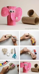 Letter E Elephant Craft Template - Diy Animal Craft Ideas with toilet Paper Rolls