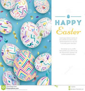 Letter From the Easter Bunny Template - Easter Background with 3d ornate Eggs Blue with Letters Cute