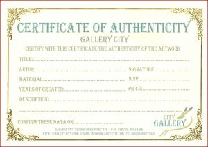 Letter Of Authenticity Template - Certificate Authenticity Artwork Template Beautiful Certificate