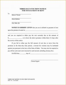 Letter Of Eviction Template - Letter Intent to Evict Template Save 3 Day Eviction Notice