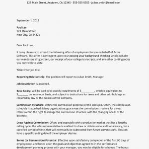 Letter Of Financial Responsibility Template - Sales Representative Job Fer Letter Sample