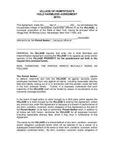 Letter Of Indemnity Template - Free Hold Harmless Letter Template Examples