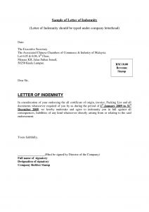 Letter Of Indemnity Template - Business for Sale Letter Template Examples