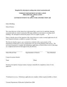 Letter Of Intent Construction Template - Sample Letter Of Intent Template