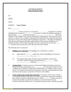 Letter Of Intent Construction Template - Letter Intent Contract New Subcontractor Letter Intent