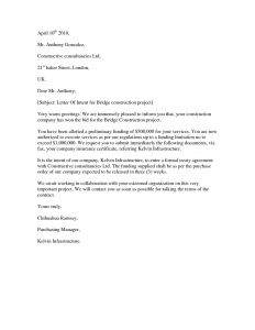 Letter Of Intent Construction Template - 11 Letter Of Intent Vorlage