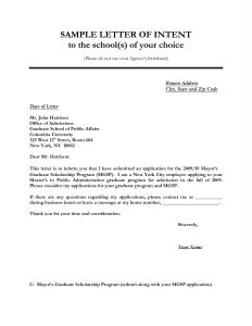 Letter Of Intent for Graduate School Template - Letter Of Intent Sample