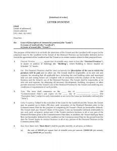 Letter Of Intent Lease Template - Letter Intent to Lease Mercial Property Template Sample