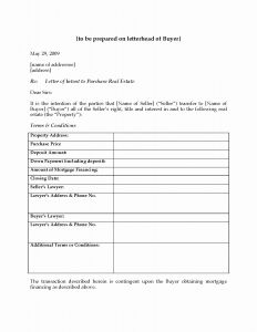 Letter Of Intent Real Estate Template - Letter Intent to Purchase Template Examples