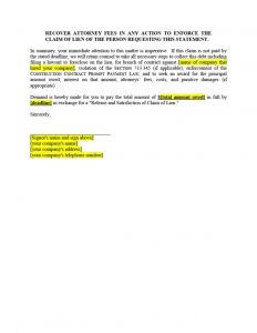 Letter Of Intent to File A Lien Template - Lien Letter Template Ksdharshan