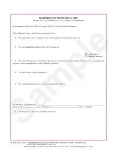 Letter Of Intent to File A Lien Template - Statement Of Mechanics Lien with Notice Of Intent to File