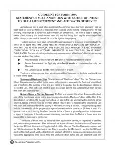 Letter Of Intent to File A Lien Template - Guideline to Statement Of Mechanics Lien with Notice Of Intent to