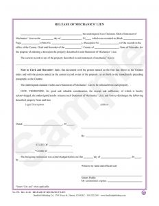 Letter Of Intent to File A Lien Template - Release Of Mechanic S Lien – Bradford Publishing